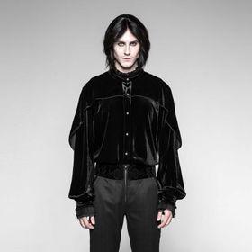 PUNK RAVE Gothic Samt-Hemd