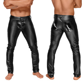NOIR HANDMADE Power-Wetlook Herren-Hose mit Lack