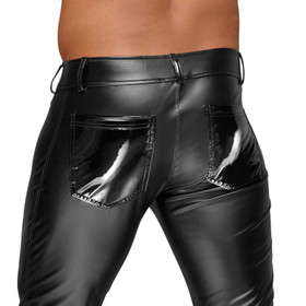 Detail image to NOIR HANDMADE Power-Wetlook Pants w/ PVC Cod-Piece