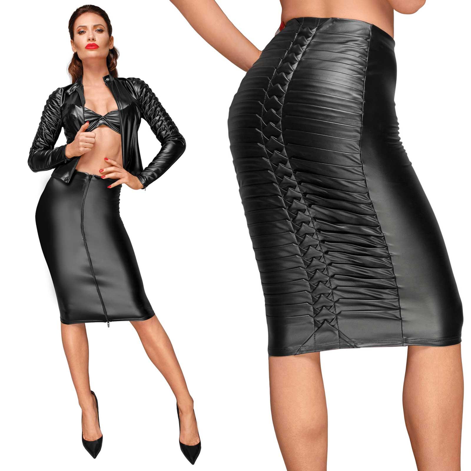 NOIR HANDMADE Wetlook Pleated Pencil Skirt