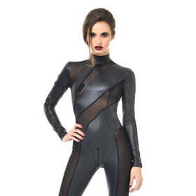 PATRICE CATANZARO Zia Wetlook Mesh Catsuit