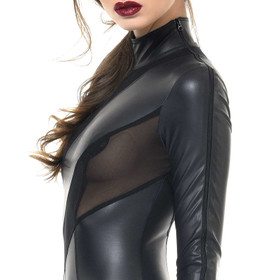 Detail image to PATRICE CATANZARO Zia Wetlook Mesh Catsuit
