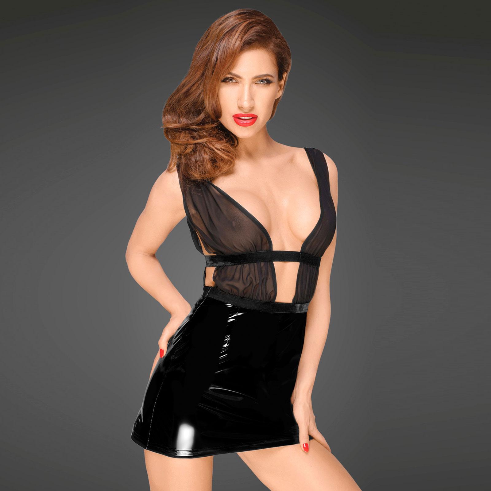 NOIR HANDMADE PVC Mini Dress With Tulle Top