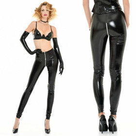 PATRICE CATANZARO Vinyl Zip Leggings Black