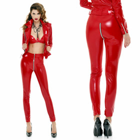 PATRICE CATANZARO Vinyl Zip Leggings Red