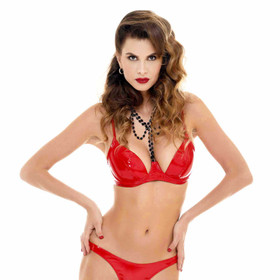 Detail image to PATRICE CATANZARO Vinyl Bra Red