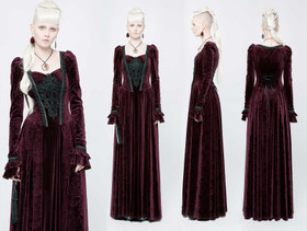 Detailbild zu PUNK RAVE Gothic Mittelalterkleid Rot