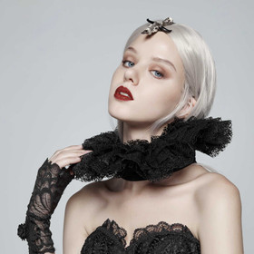Detail image to PUNK RAVE Elisabethan Ruff Black