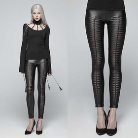 PUNK RAVE Slashed Leggings Schwarz