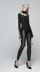 Detail image to PUNK RAVE Slashed Leggings Black