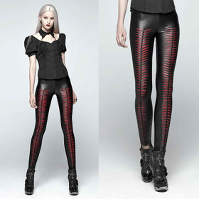 PUNK RAVE Slashed Leggings Schwarz-Rot