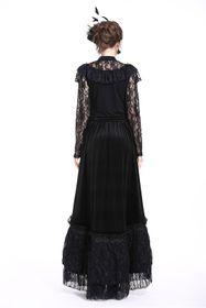 Detail image to DARK IN LOVE Gothic Velvet Long Skirt