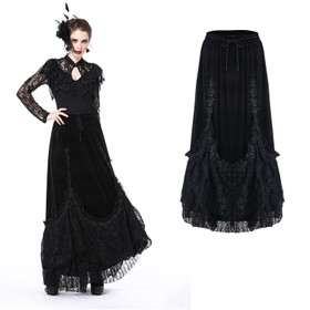 DARK IN LOVE Gothic Velvet Long Skirt