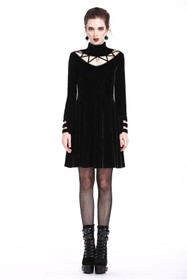 Detail image to DARK IN LOVE Gothic Velvet Mini Dress