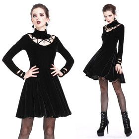 DARK IN LOVE Gothic Velvet Mini Dress