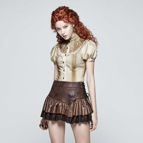 PUNK RAVE Valance Mini Skirt Brown