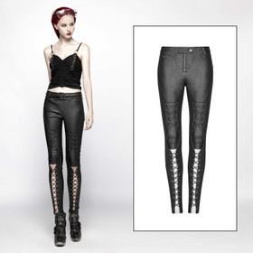 PUNK RAVE Leatherette Laced Up Pants