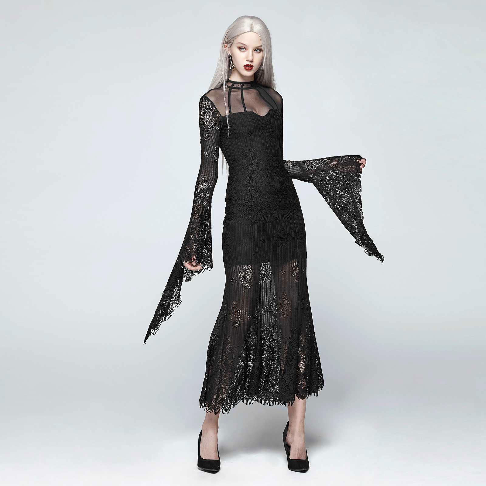 details zu punk rave gothic dream dress kleid lang schwarz ganz aus spitze  romantisch