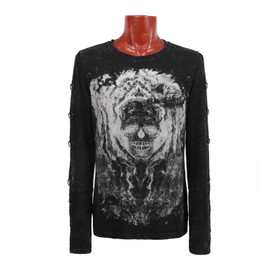 PUNK RAVE Gothic Skull Longsleeve Top - M - B-Ware