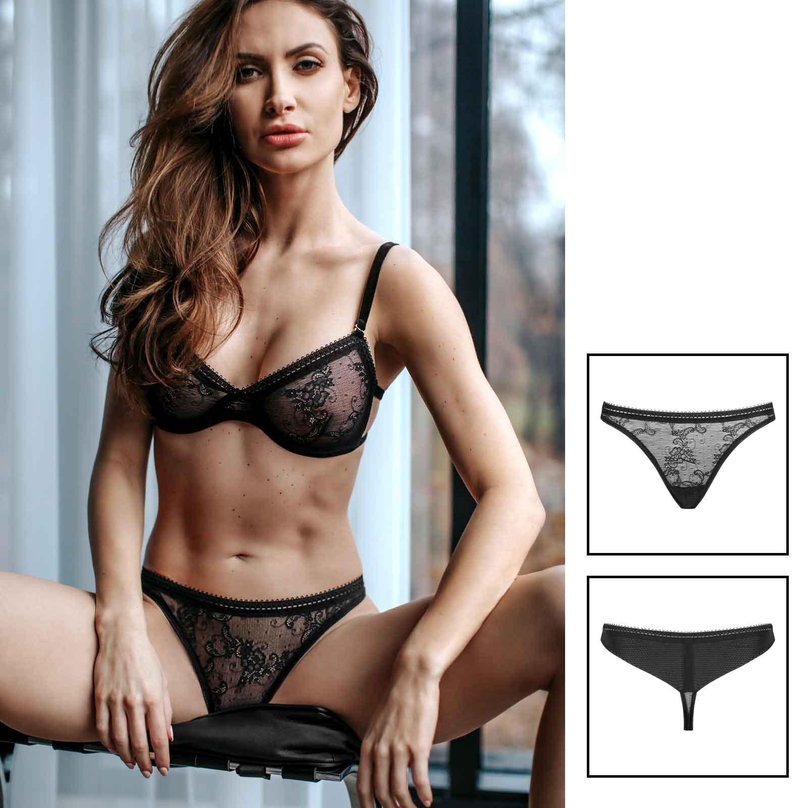 PETITENOIR Black Lace Thong