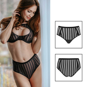 Detail image to PETITENOIR Black Stripes Panty