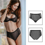 PETITENOIR Black Stripes Panty 001