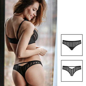 PETITENOIR Black Stripes Thong