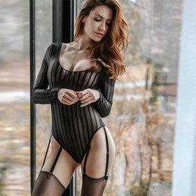 PETITENOIR Stripes Mesh Body