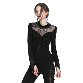 DARK IN LOVE Spitzen Longsleeve Top