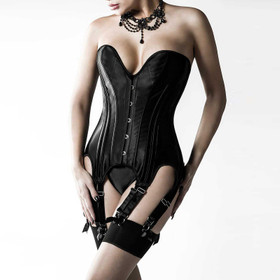 GREY VELVET Satin Corset Black