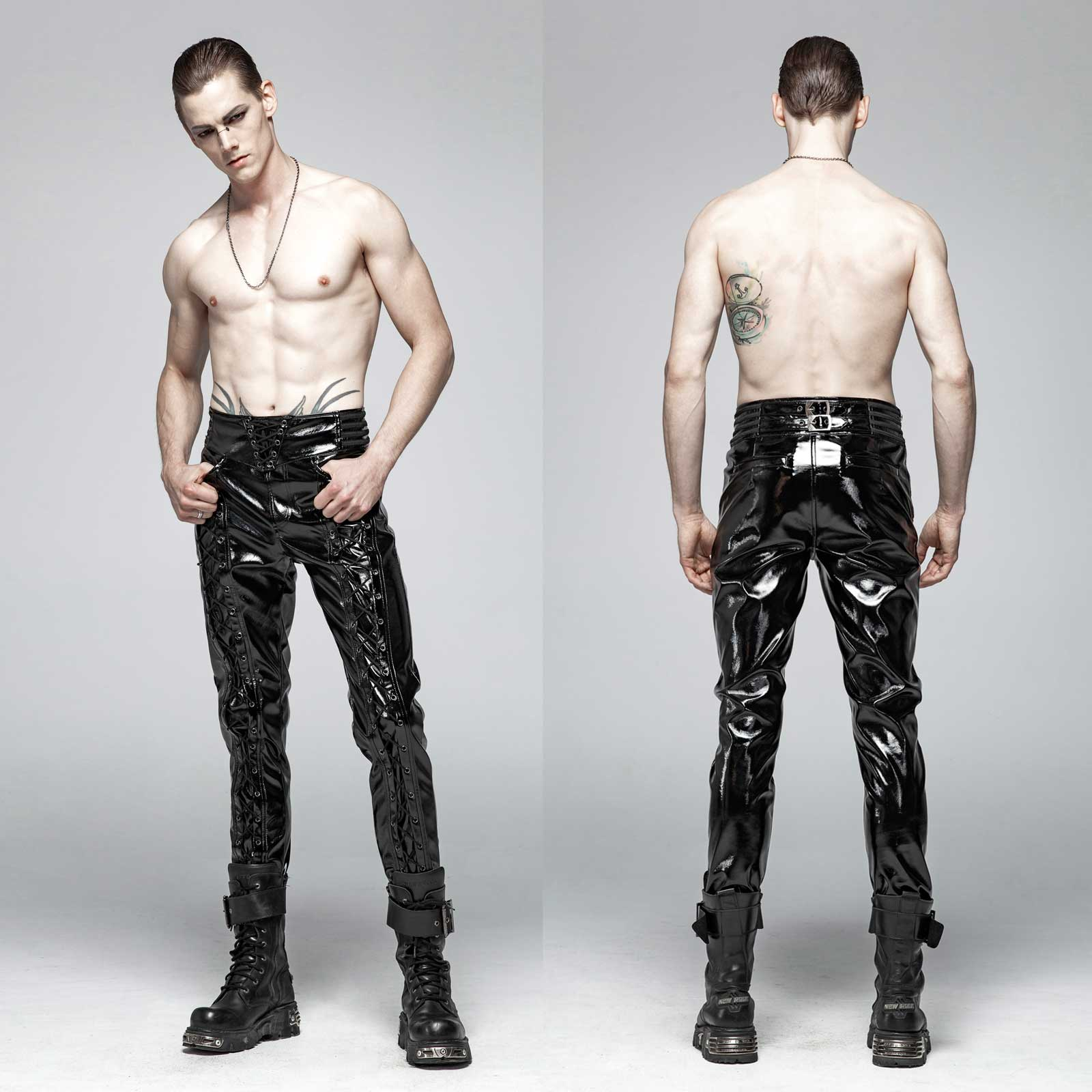 PUNK RAVE Gothic Laced-up Vinyl Pants