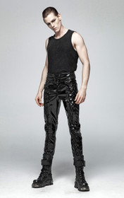 Detail image to PUNK RAVE Gothic Laced-up Vinyl Pants