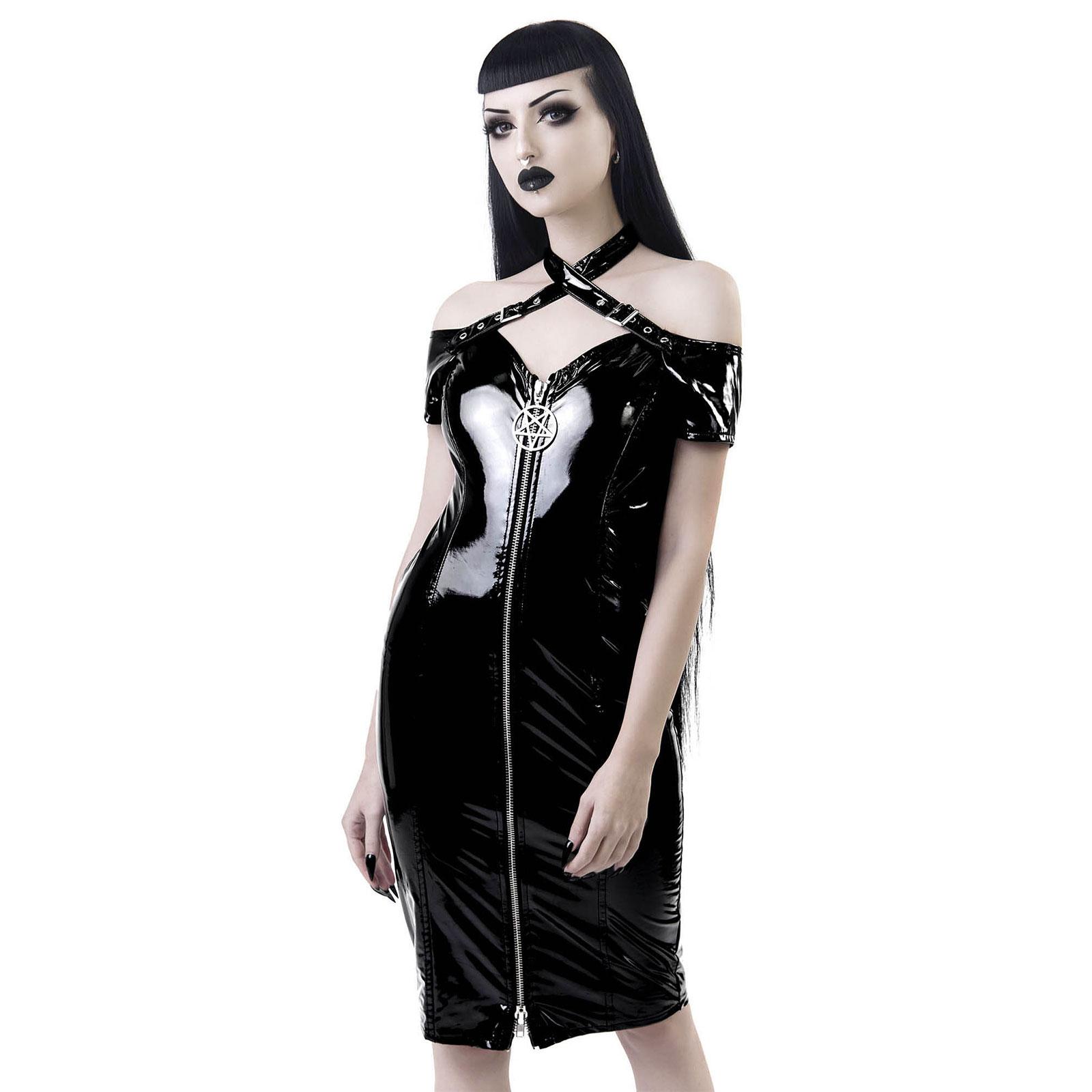 KILLSTAR Lost Souls Bardot Vinyl Dress