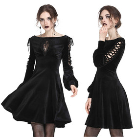 DARK IN LOVE Black Velvet Queen Kleid