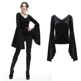 DARK IN LOVE Bellsleeve Samt-Top