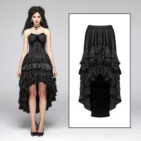 PUNK RAVE Dip Hem Velvet Skirt