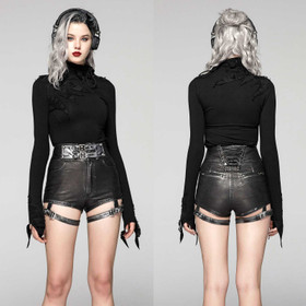 PUNK RAVE High Waist Full Metal Shorts