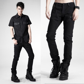 PUNK RAVE Black Rib Pants