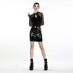DARK IN LOVE Lack-Mini-Rock mit Zip – Bild 7