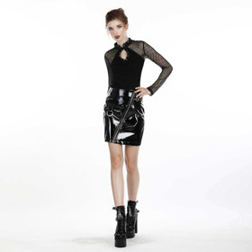 DARK IN LOVE Lack-Mini-Rock mit Zip – Bild 9