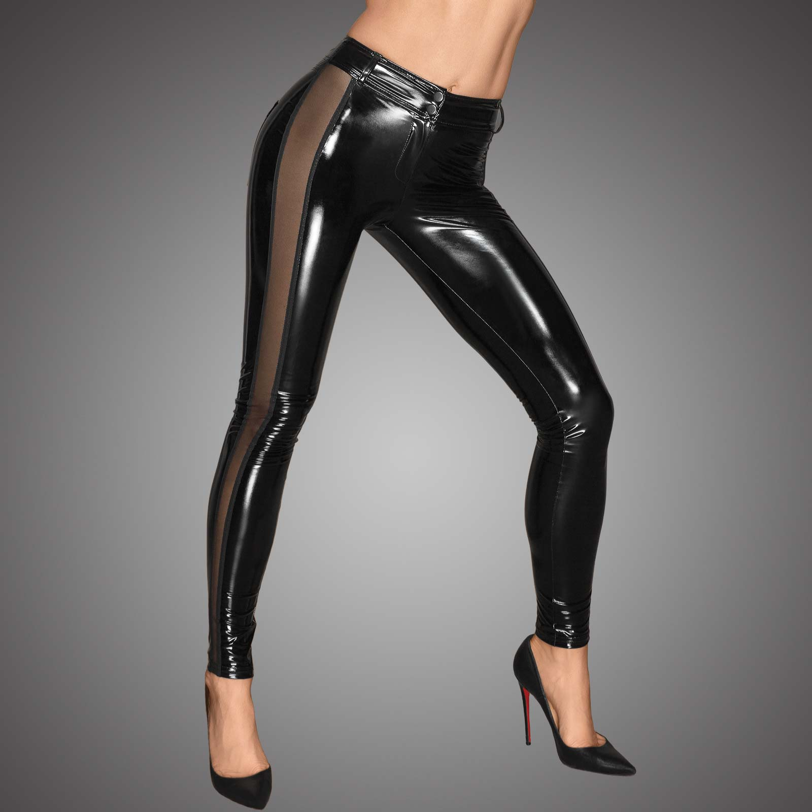 NOIR HANDMADE PVC Pants w/ Mesh Contrast