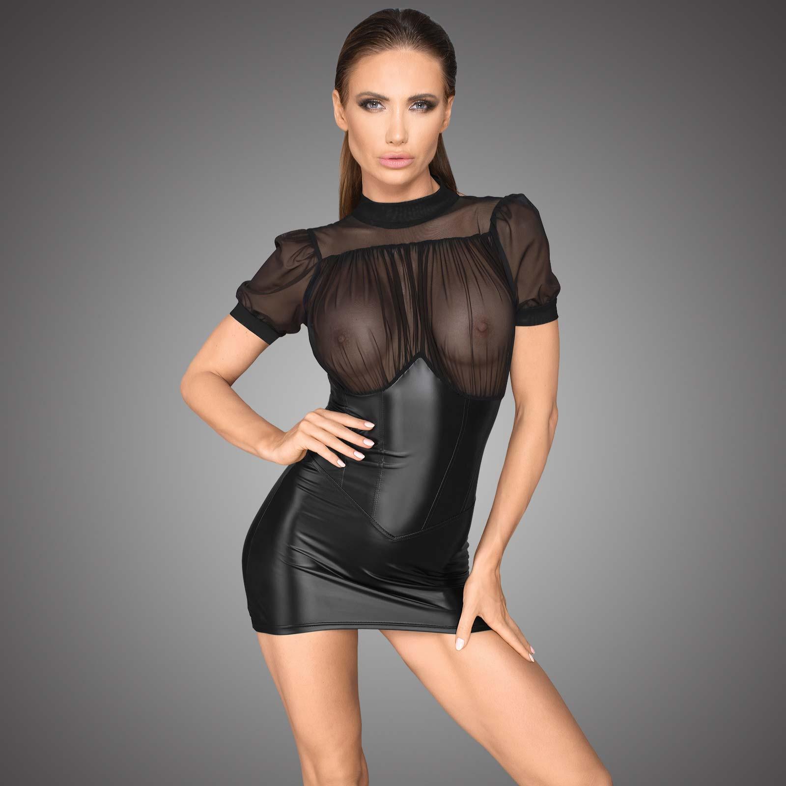Details zu NOIR HANDMADE No Compromise Dress Wetlook Kleid mit  Tüll-Oberteil Transparent
