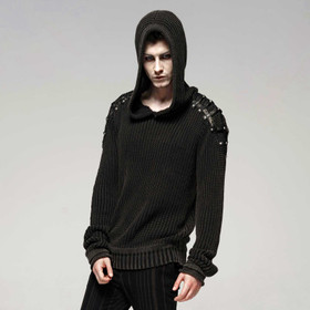 PUNK RAVE Dark Knit Hoodie Sweater
