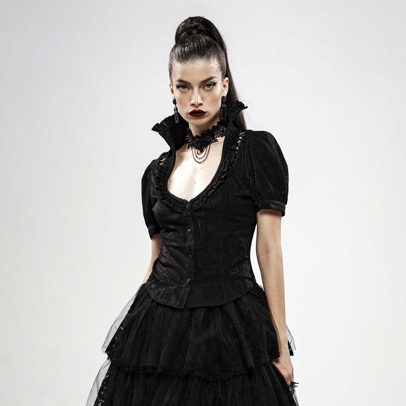 Spitze Neckholder Top Oberteil Gothic Lolita Viktorianisch Rüschen Dark PunkRave