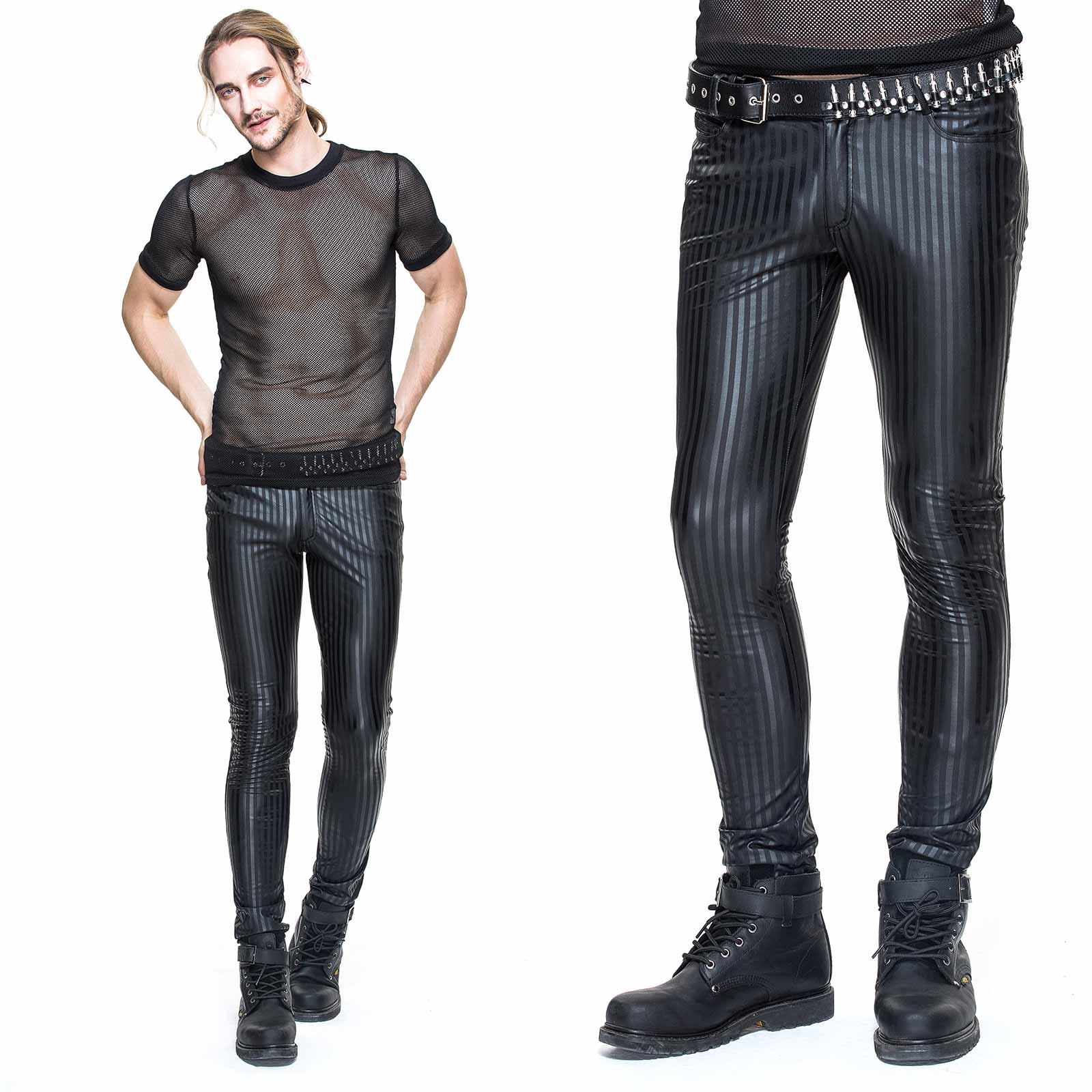 DEVIL FASHION Leatherette Pants Stripes