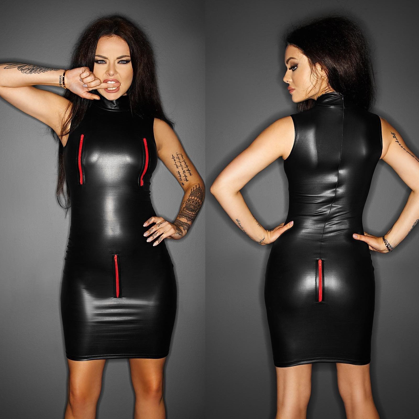 NOIR HANDMADE Shameless Dress Wetlook Kleid GOTHIC KLEID CLUBWEAR ...