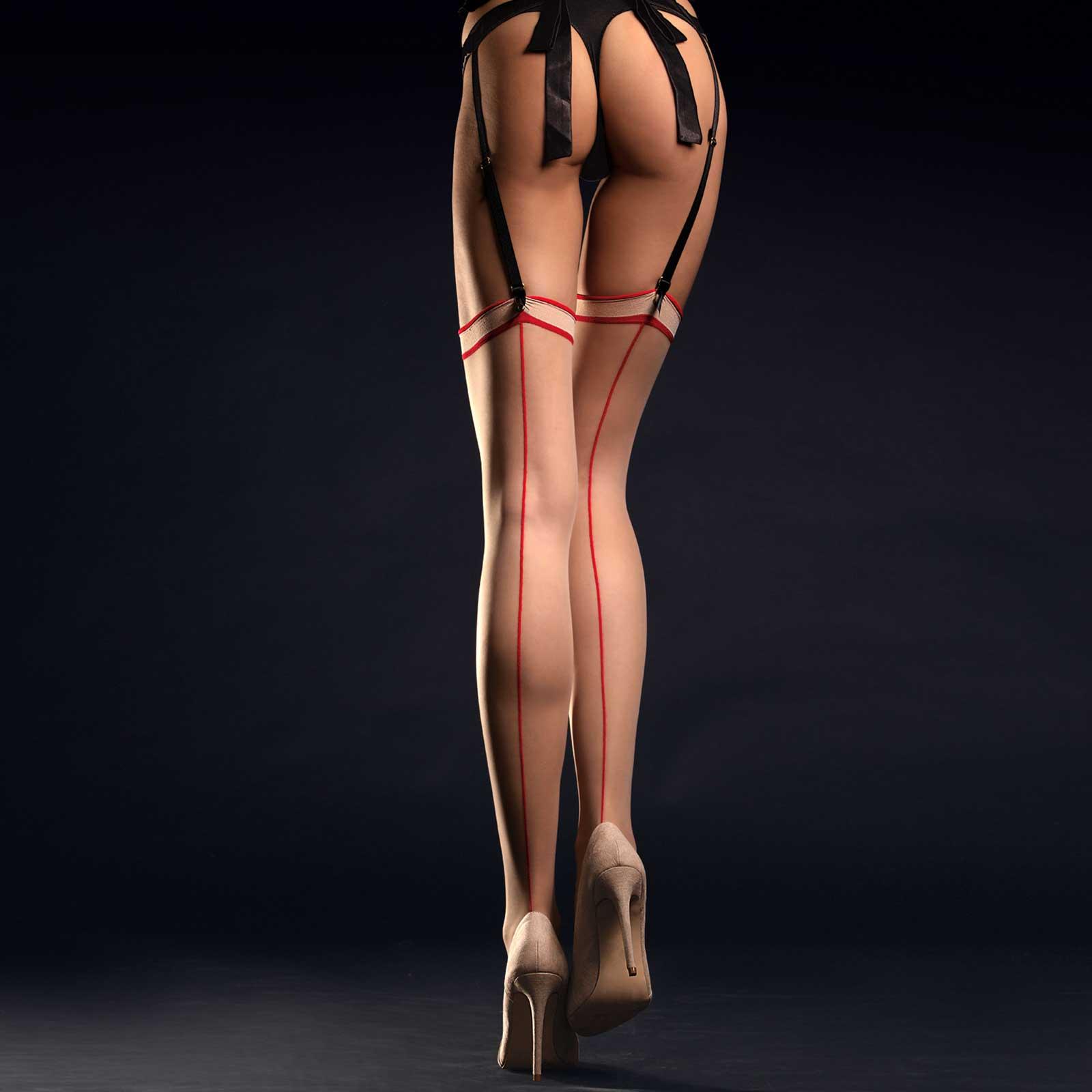 FIORE Madame Back Seam Stockings Poudre/Red