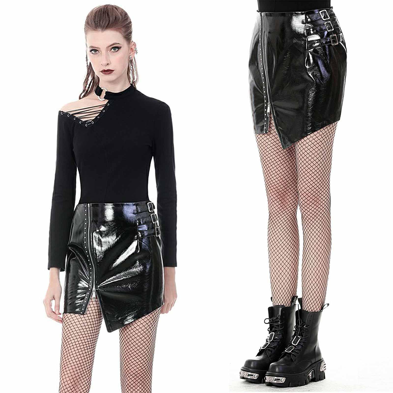 DARK IN LOVE Vinyl Mini Skirt Asymmetric