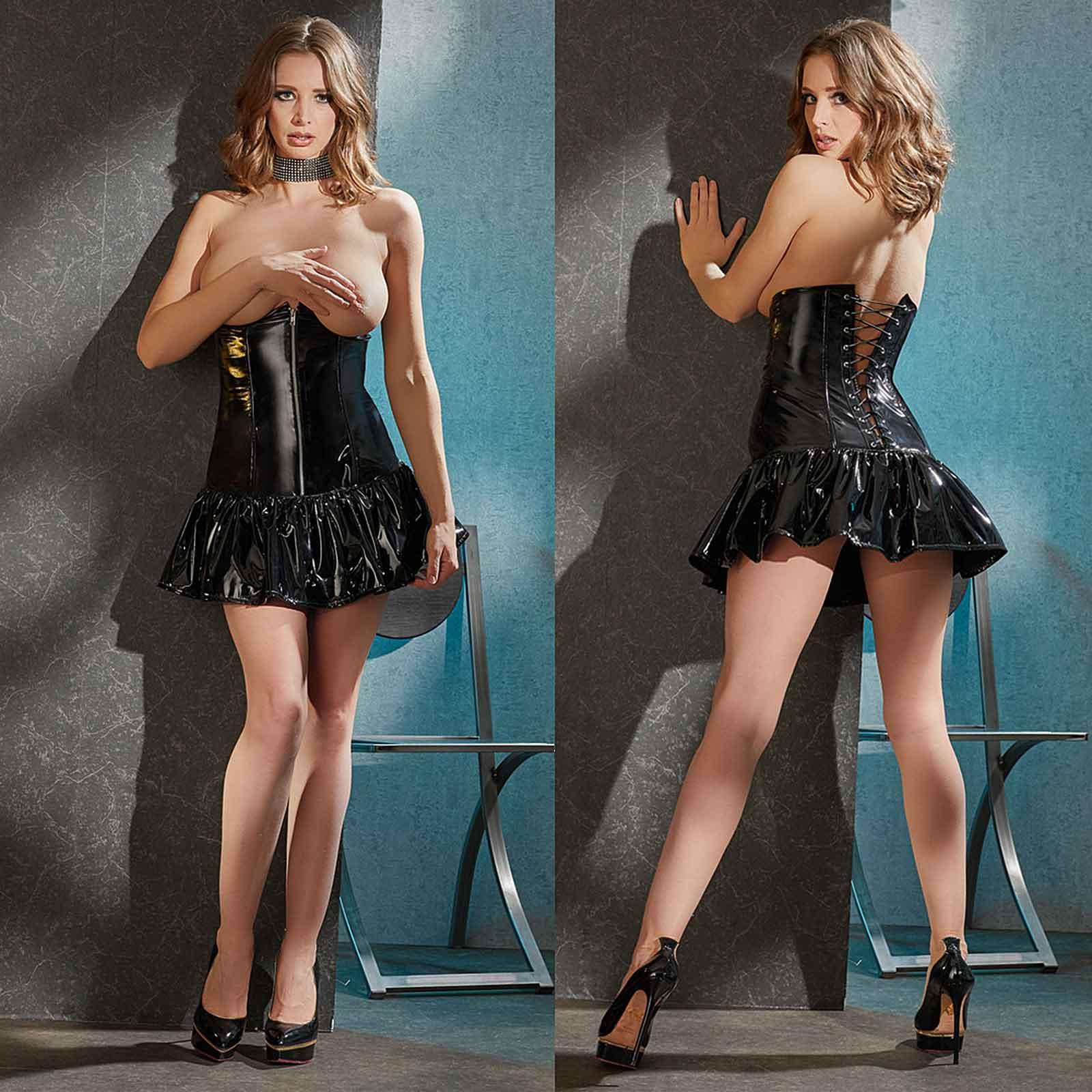 BLACK LEVEL Topless PU Mini Dress