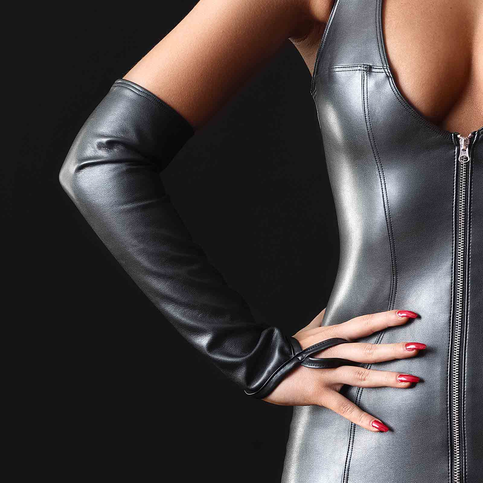 PATRICE CATANZARO Mitaines Faux Leather Gauntlets